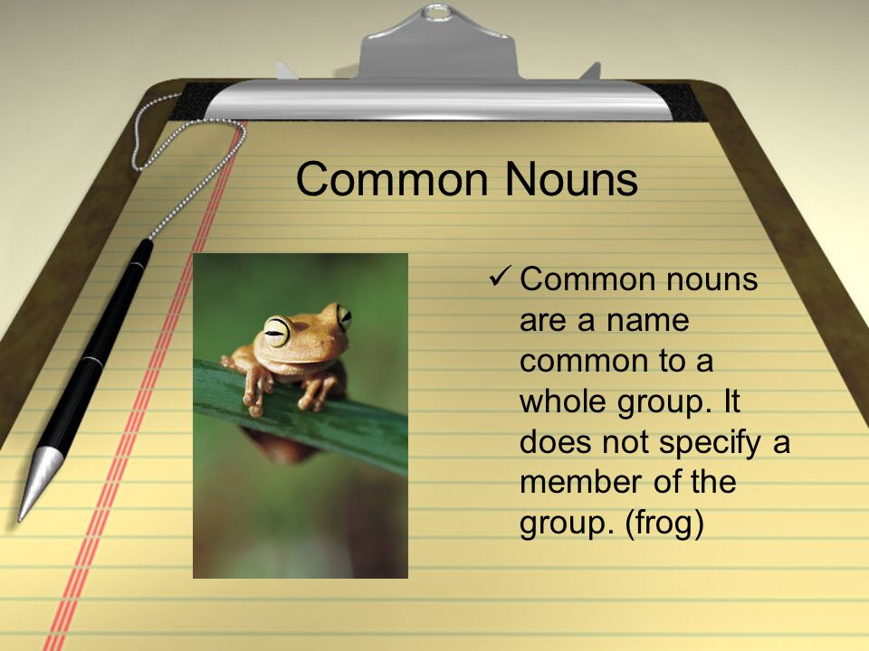 Common Nouns Common nouns are a name common to a whole group. It does not specify a member of the group. (frog)