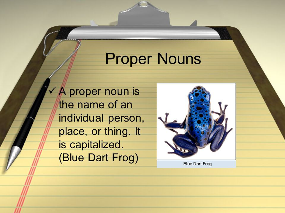 Proper Nouns A proper noun is the name of an individual person, place, or thing. It is capitalized. (Blue Dart Frog)
