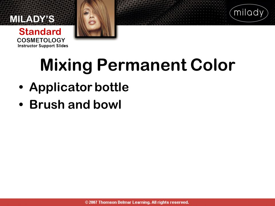 MILADYS Standard Instructor Support Slides COSMETOLOGY Mixing Permanent Color Applicator bottle Brush and bowl