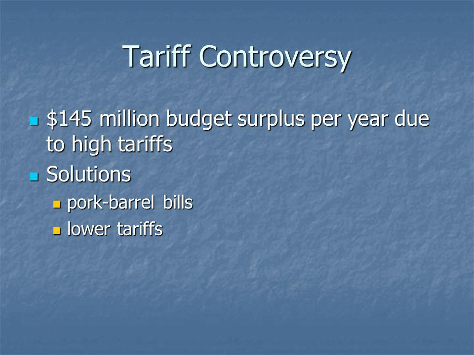 Tariff Controversy $145 million budget surplus per year due to high tariffs $145 million budget surplus per year due to high tariffs Solutions Solutio