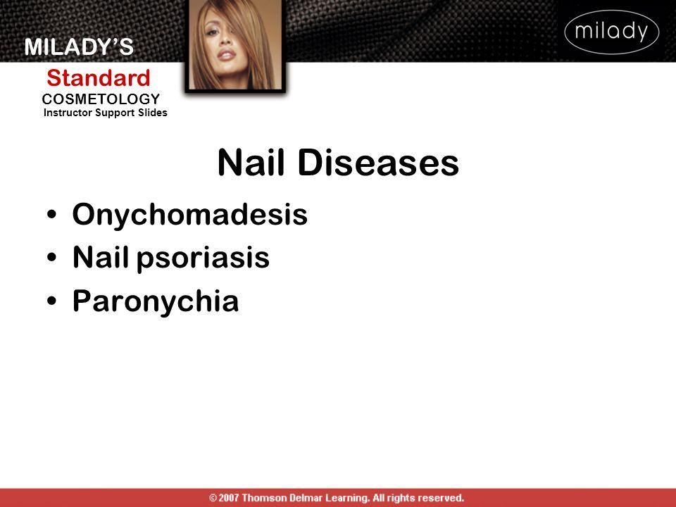 MILADYS Standard Instructor Support Slides COSMETOLOGY Onychomadesis Nail psoriasis Paronychia Nail Diseases