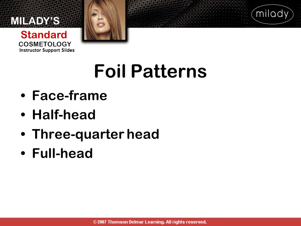 MILADYS Standard Instructor Support Slides COSMETOLOGY Foil Patterns Face-frame Half-head Three-quarter head Full-head