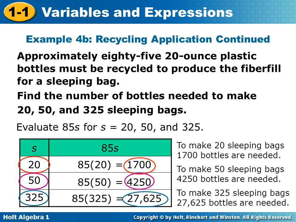Holt Algebra 1 1-1 Variables and Expressions Find the number of bottles needed to make 20, 50, and 325 sleeping bags. Evaluate 85s for s = 20, 50, and