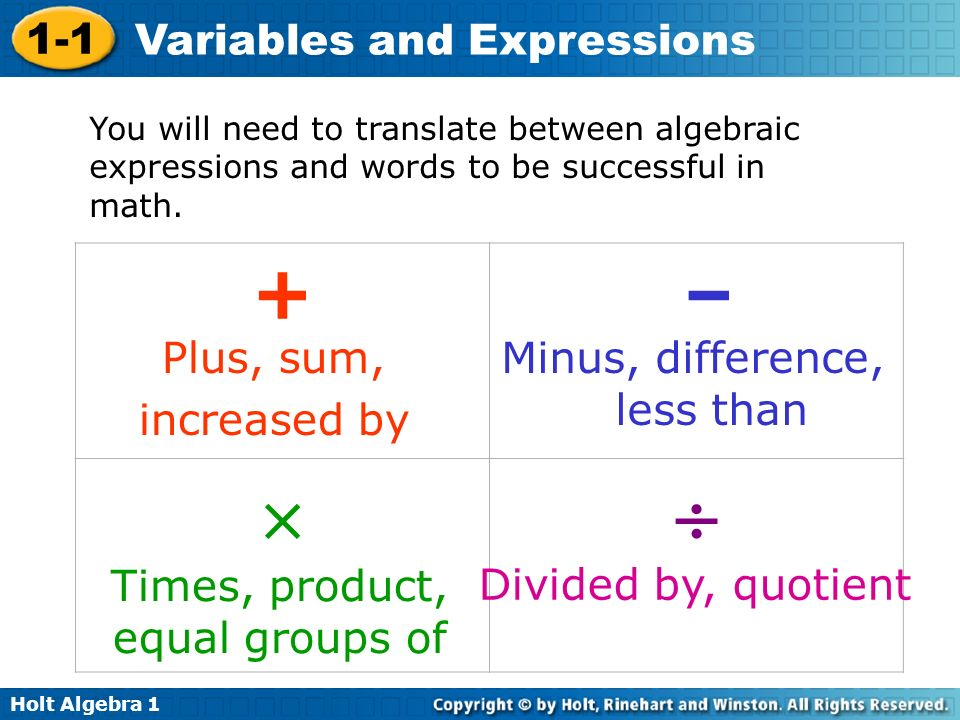 Holt Algebra 1 1-1 Variables and Expressions You will need to translate between algebraic expressions and words to be successful in math. Plus, sum, i