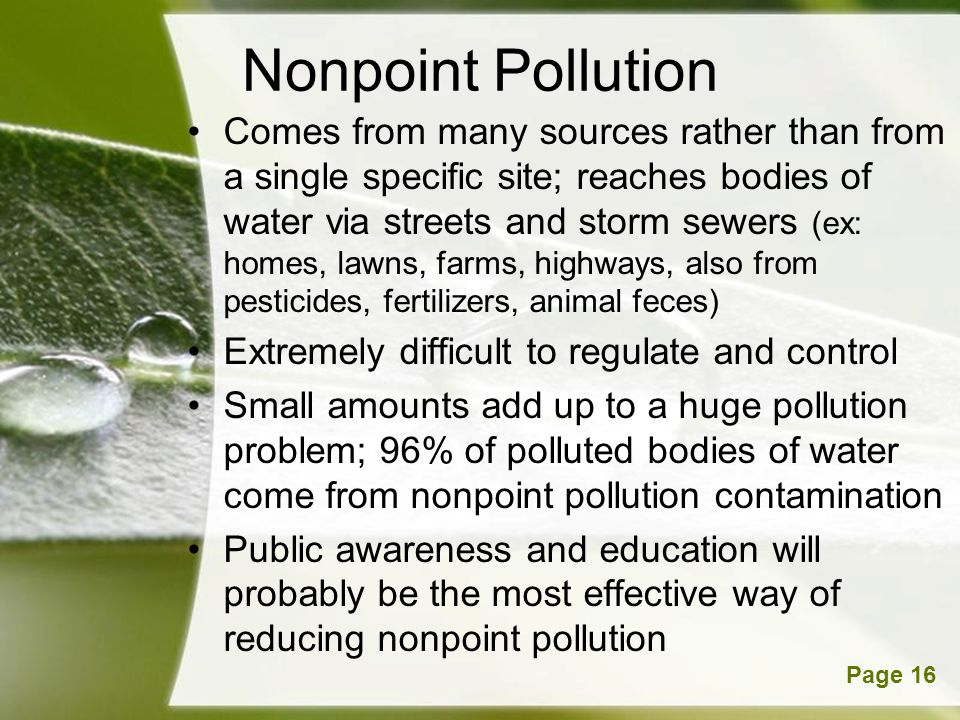 Powerpoint TemplatesPage 16 Nonpoint Pollution Comes from many sources rather than from a single specific site; reaches bodies of water via streets and storm sewers (ex: homes, lawns, farms, highways, also from pesticides, fertilizers, animal feces) Extremely difficult to regulate and control Small amounts add up to a huge pollution problem; 96% of polluted bodies of water come from nonpoint pollution contamination Public awareness and education will probably be the most effective way of reducing nonpoint pollution