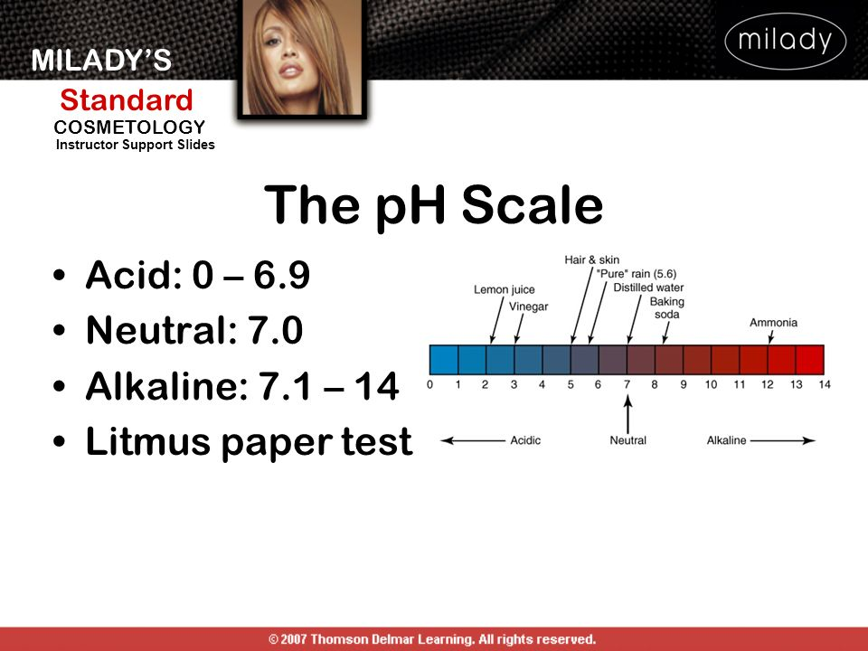 MILADYS Standard Instructor Support Slides COSMETOLOGY The pH Scale Acid: 0 – 6.9 Neutral: 7.0 Alkaline: 7.1 – 14 Litmus paper test