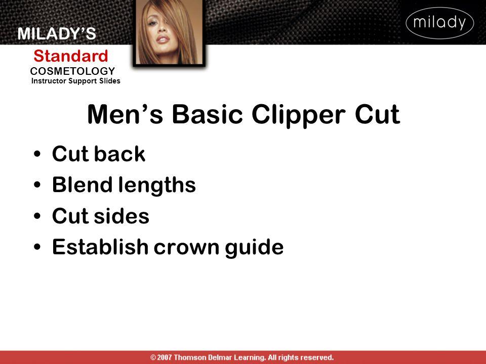 MILADYS Standard Instructor Support Slides COSMETOLOGY Cut back Blend lengths Cut sides Establish crown guide Mens Basic Clipper Cut