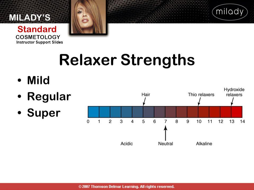MILADYS Standard Instructor Support Slides COSMETOLOGY Relaxer Strengths Mild Regular Super