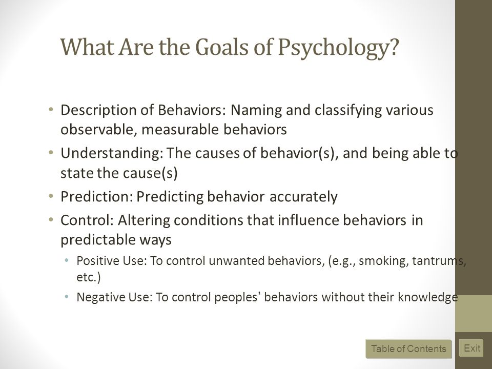 What Are the Goals of Psychology.