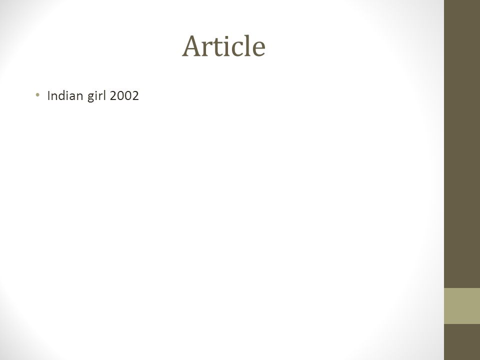 Article Indian girl 2002