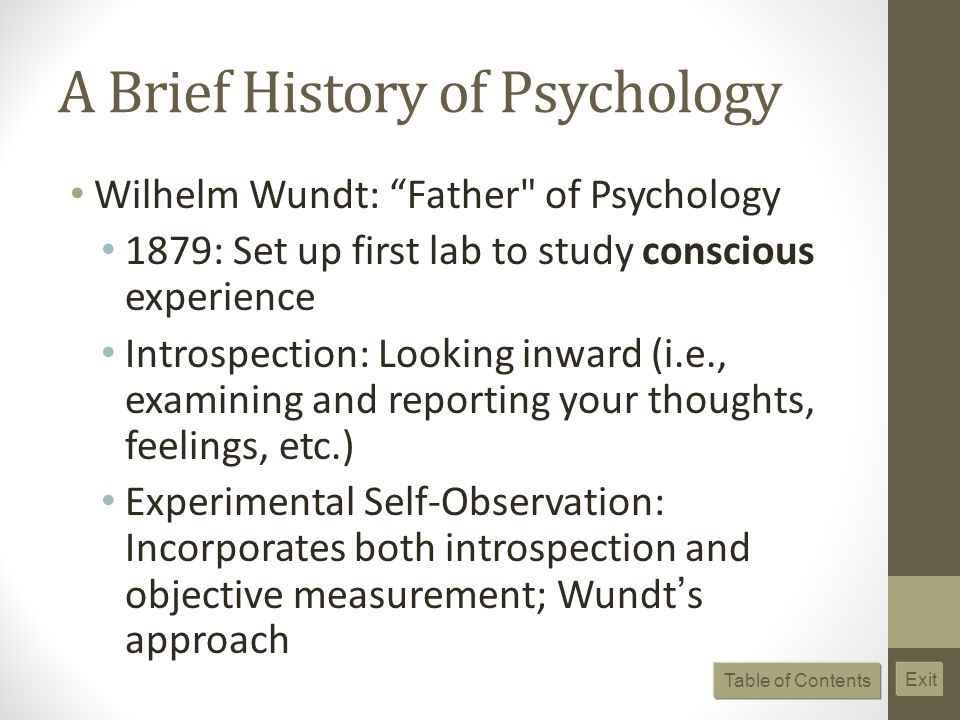A Brief History of Psychology Wilhelm Wundt: Father