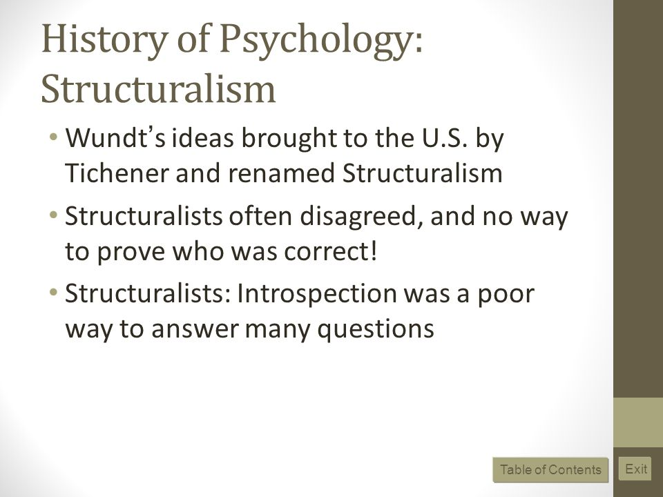 History of Psychology: Structuralism Wundt s ideas brought to the U.S.