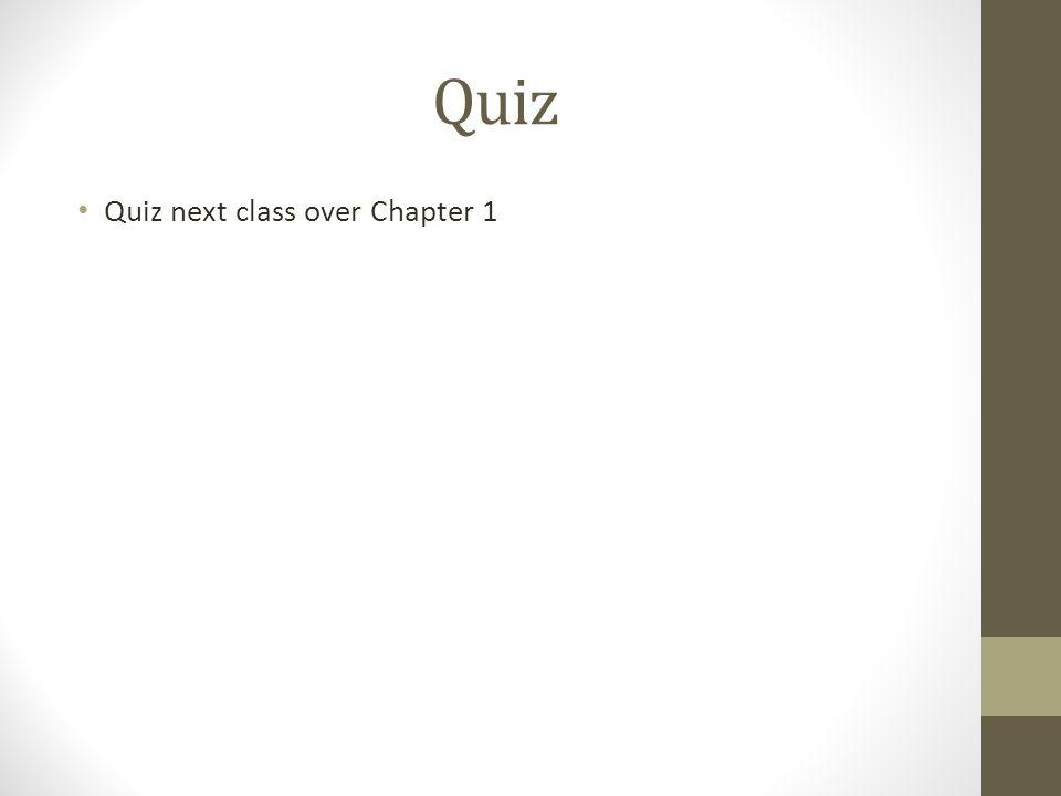 Quiz Quiz next class over Chapter 1