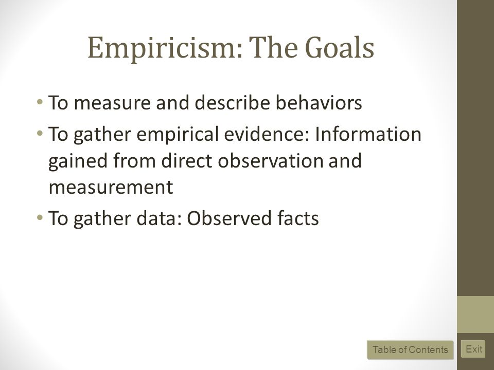 Empiricism: The Goals To measure and describe behaviors To gather empirical evidence: Information gained from direct observation and measurement To gather data: Observed facts Table of Contents Exit