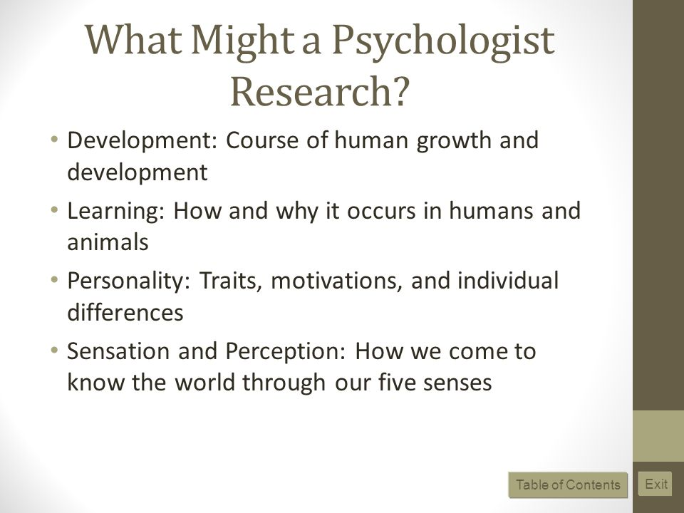 What Might a Psychologist Research? Development: Course of human growth and development Learning: How and why it occurs in humans and animals Personal