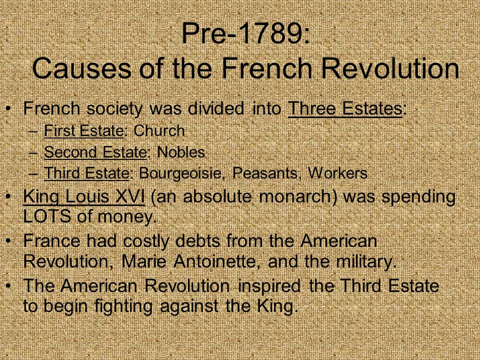 Pre-1789: Causes of the French Revolution French society was divided into Three Estates: –First Estate: Church –Second Estate: Nobles –Third Estate: B