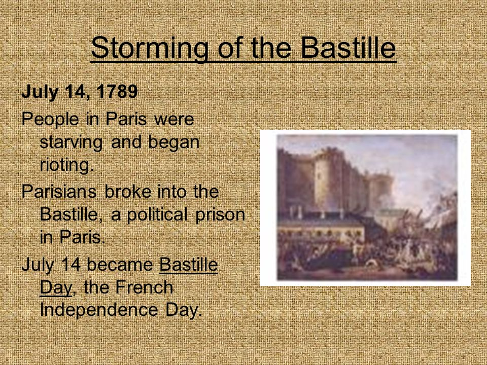 Storming of the Bastille July 14, 1789 People in Paris were starving and began rioting. Parisians broke into the Bastille, a political prison in Paris