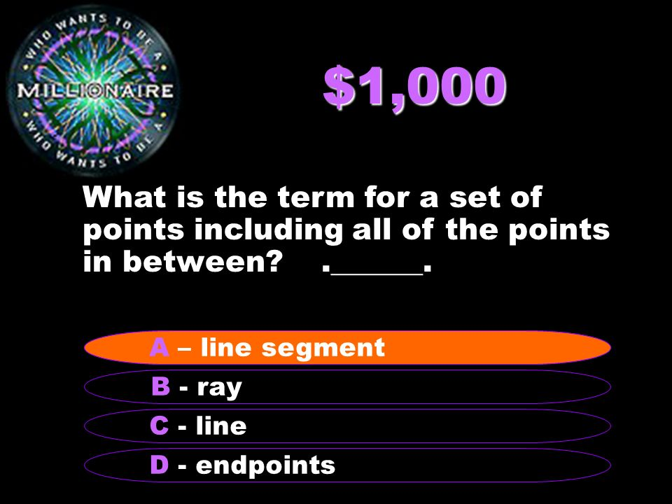$1,000 What is the term for a set of points including all of the points in between .______.