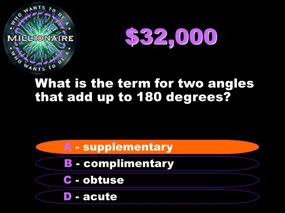 $32,000 What is the term for two angles that add up to 180 degrees.