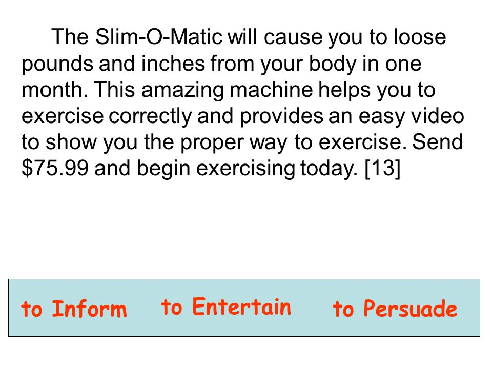 The Slim-O-Matic will cause you to loose pounds and inches from your body in one month.