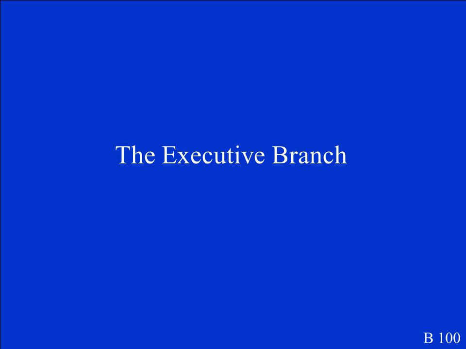 This branch of government is headed by the President of the United States of America. B 100