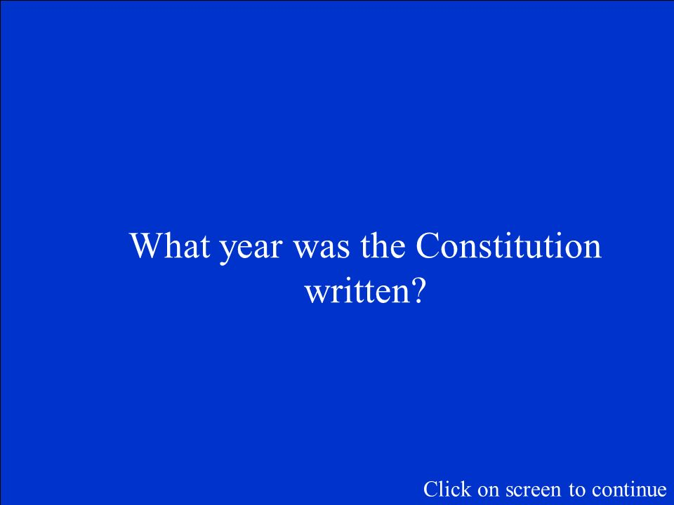 The Final Jeopardy Category is: The Constitution of the United States of America Please record your wager. Click on screen to begin