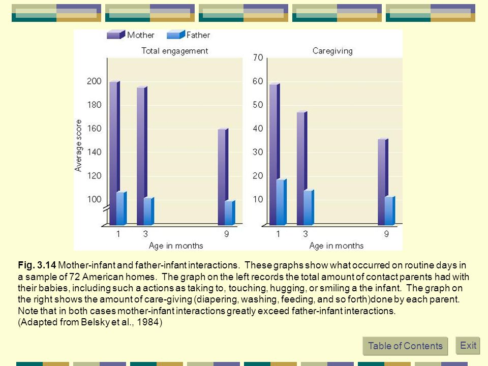 Fig. 3.14 Mother-infant and father-infant interactions. These graphs show what occurred on routine days in a sample of 72 American homes. The graph on