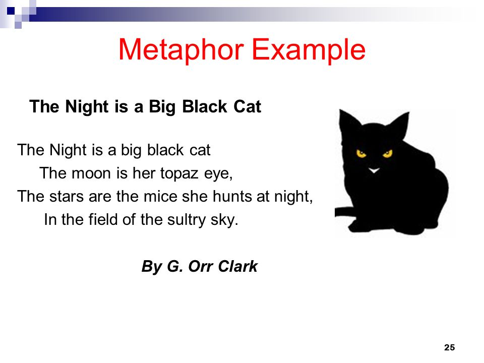 25 Metaphor Example The Night is a big black cat The moon is her topaz eye, The stars are the mice she hunts at night, In the field of the sultry sky.