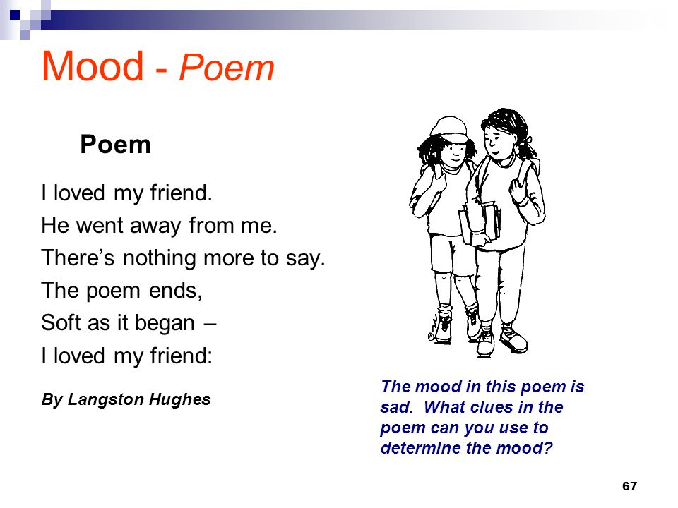 67 Mood - Poem I loved my friend. He went away from me. Theres nothing more to say. The poem ends, Soft as it began – I loved my friend: By Langston H