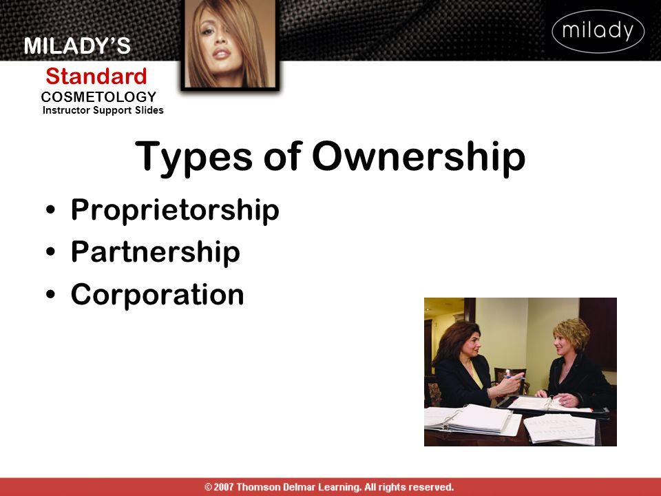 MILADYS Standard Instructor Support Slides COSMETOLOGY Types of Ownership Proprietorship Partnership Corporation