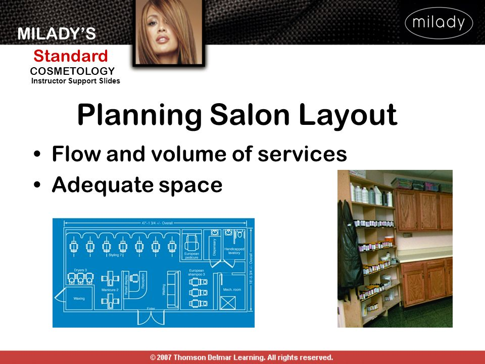 MILADYS Standard Instructor Support Slides COSMETOLOGY Planning Salon Layout Flow and volume of services Adequate space