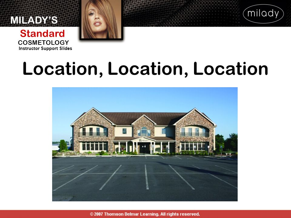 MILADYS Standard Instructor Support Slides COSMETOLOGY Location, Location, Location