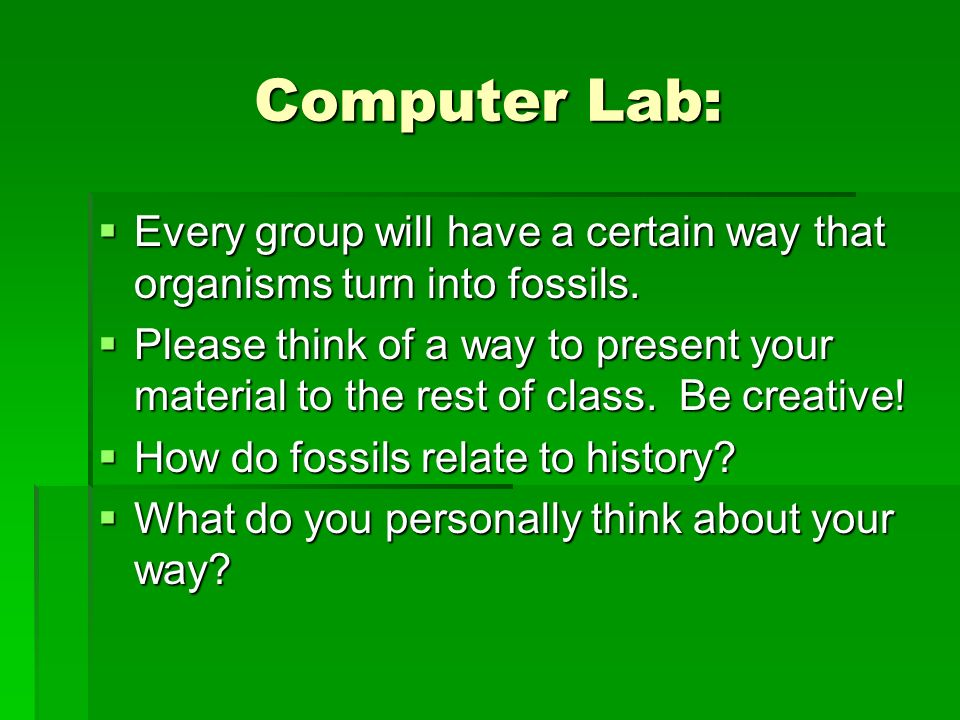 Computer Lab: Every group will have a certain way that organisms turn into fossils. Every group will have a certain way that organisms turn into fossi