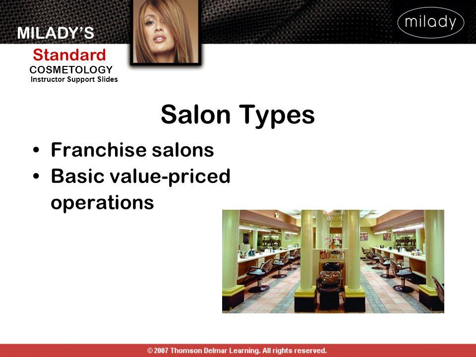 MILADYS Standard Instructor Support Slides COSMETOLOGY Franchise salons Basic value-priced operations Salon Types
