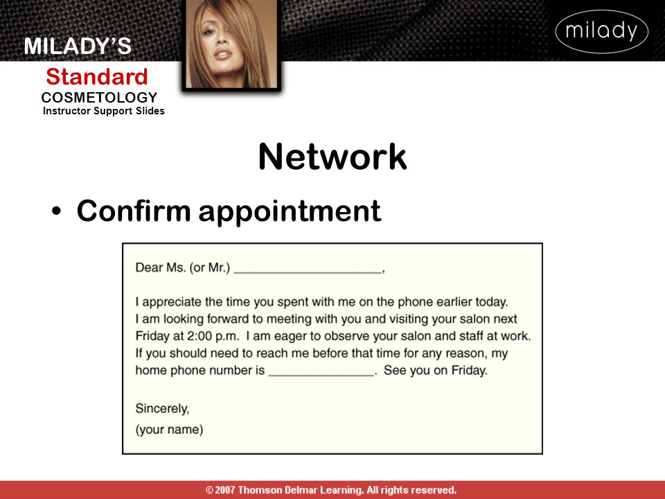 MILADYS Standard Instructor Support Slides COSMETOLOGY Confirm appointment Network