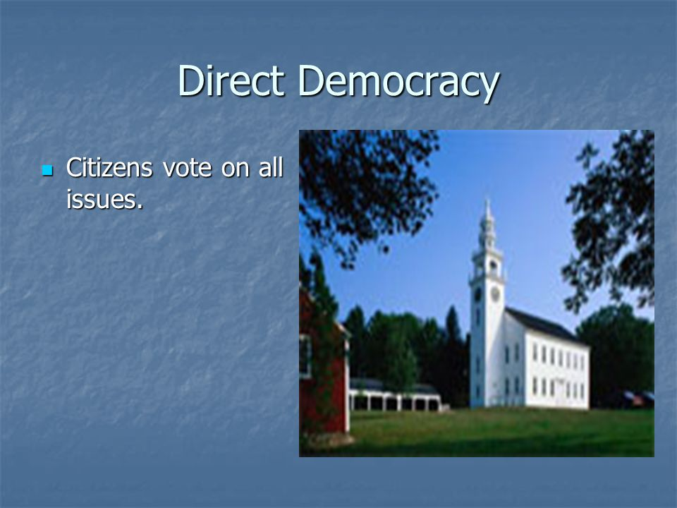 Indirect/Representative Democracy (Republic) Led by representatives of the voters Led by representatives of the voters Each is individually chosen for a set period of time.