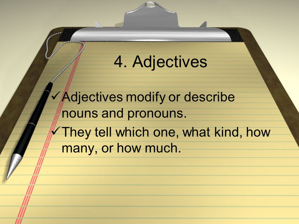 4. Adjectives Adjectives modify or describe nouns and pronouns. They tell which one, what kind, how many, or how much.