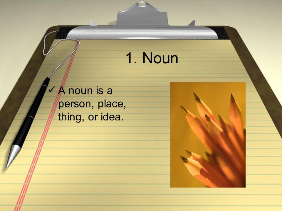 1. Noun A noun is a person, place, thing, or idea.