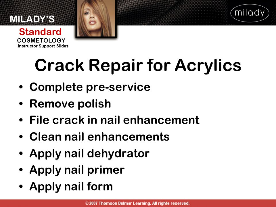 MILADYS Standard Instructor Support Slides COSMETOLOGY Crack Repair for Acrylics Complete pre-service Remove polish File crack in nail enhancement Cle
