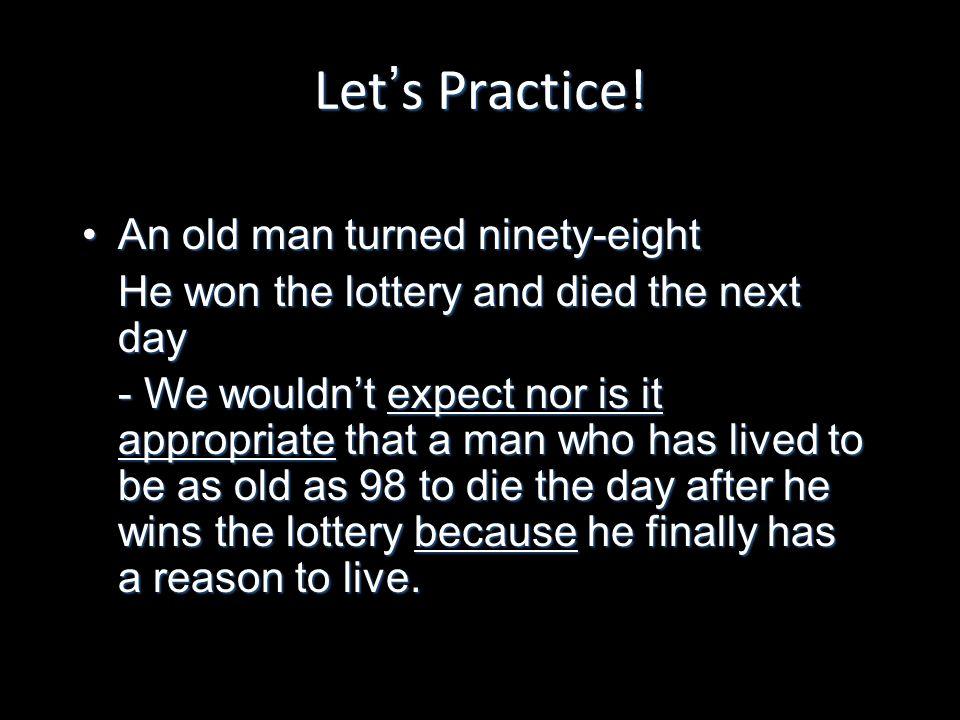 Lets Practice.