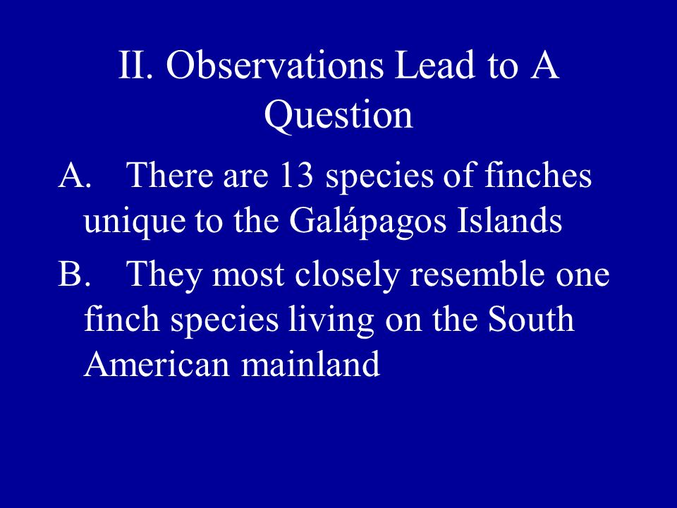 II. Observations Lead to A Question A.There are 13 species of finches unique to the Galápagos Islands B.They most closely resemble one finch species l