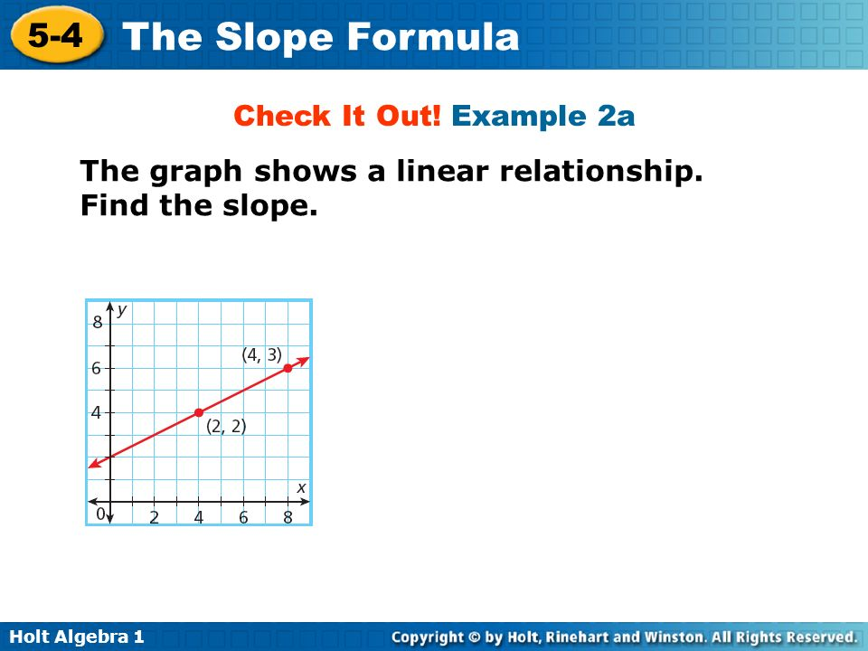 Holt Algebra 1 5-4 The Slope Formula Check It Out! Example 2a The graph shows a linear relationship. Find the slope.