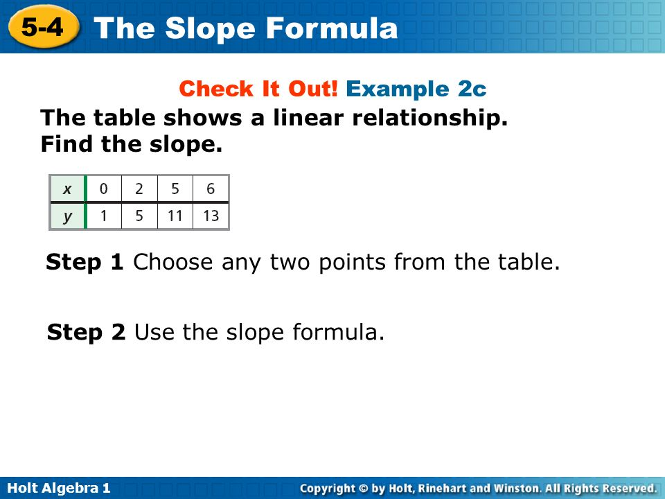 Holt Algebra 1 5-4 The Slope Formula Check It Out! Example 2c The table shows a linear relationship. Find the slope. Step 1 Choose any two points from