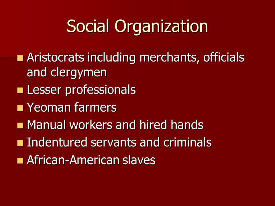 Social Organization Aristocrats including merchants, officials and clergymen Aristocrats including merchants, officials and clergymen Lesser professio