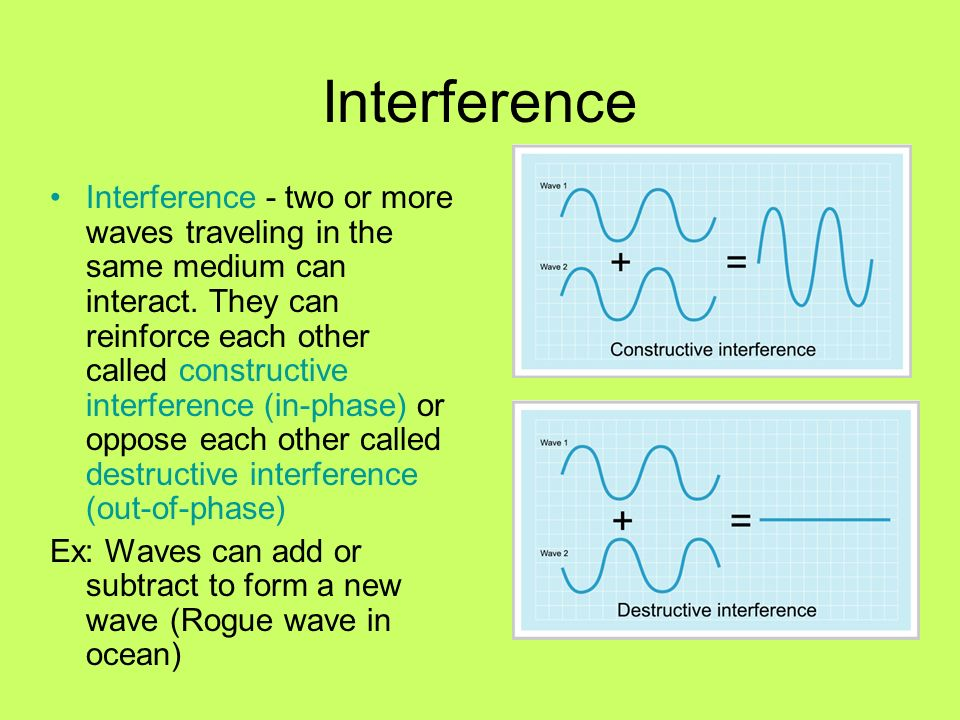Interference Interference - two or more waves traveling in the same medium can interact. They can reinforce each other called constructive interferenc