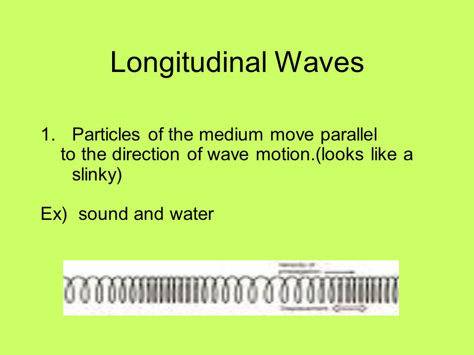 Longitudinal Waves 1.Particles of the medium move parallel to the direction of wave motion.(looks like a slinky) Ex) sound and water