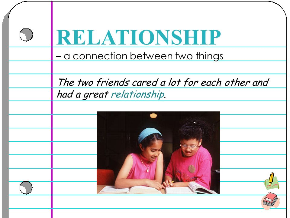 – a connection between two things RELATIONSHIP The two friends cared a lot for each other and had a great relationship.
