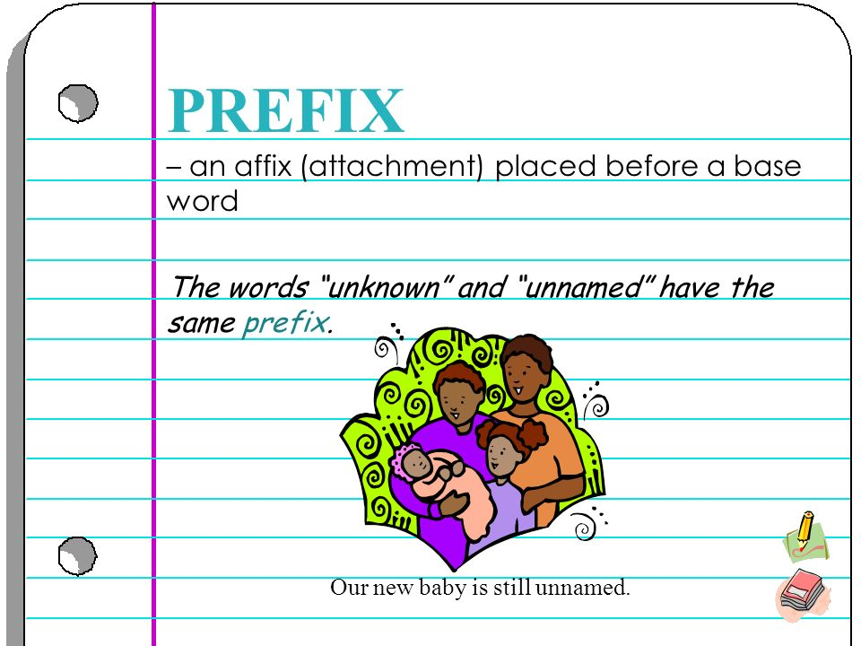 – an affix (attachment) placed before a base word PREFIX The words unknown and unnamed have the same prefix.