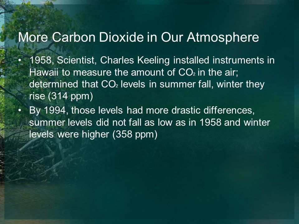 More Carbon Dioxide in Our Atmosphere 1958, Scientist, Charles Keeling installed instruments in Hawaii to measure the amount of CO 2 in the air; deter