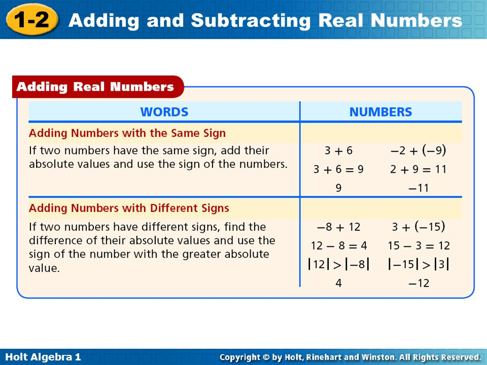 Holt Algebra 1 1-2 Adding and Subtracting Real Numbers